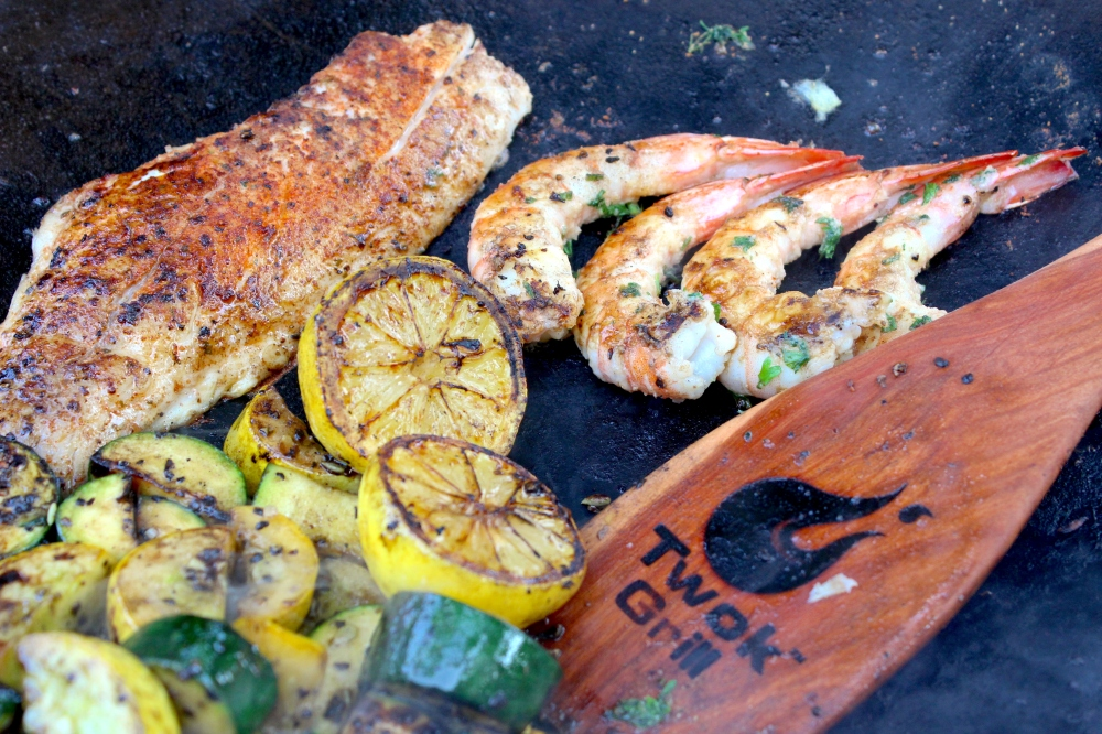 Lemon White Fish Shrimp and Veggies Twok Grill hardwood roux spoon